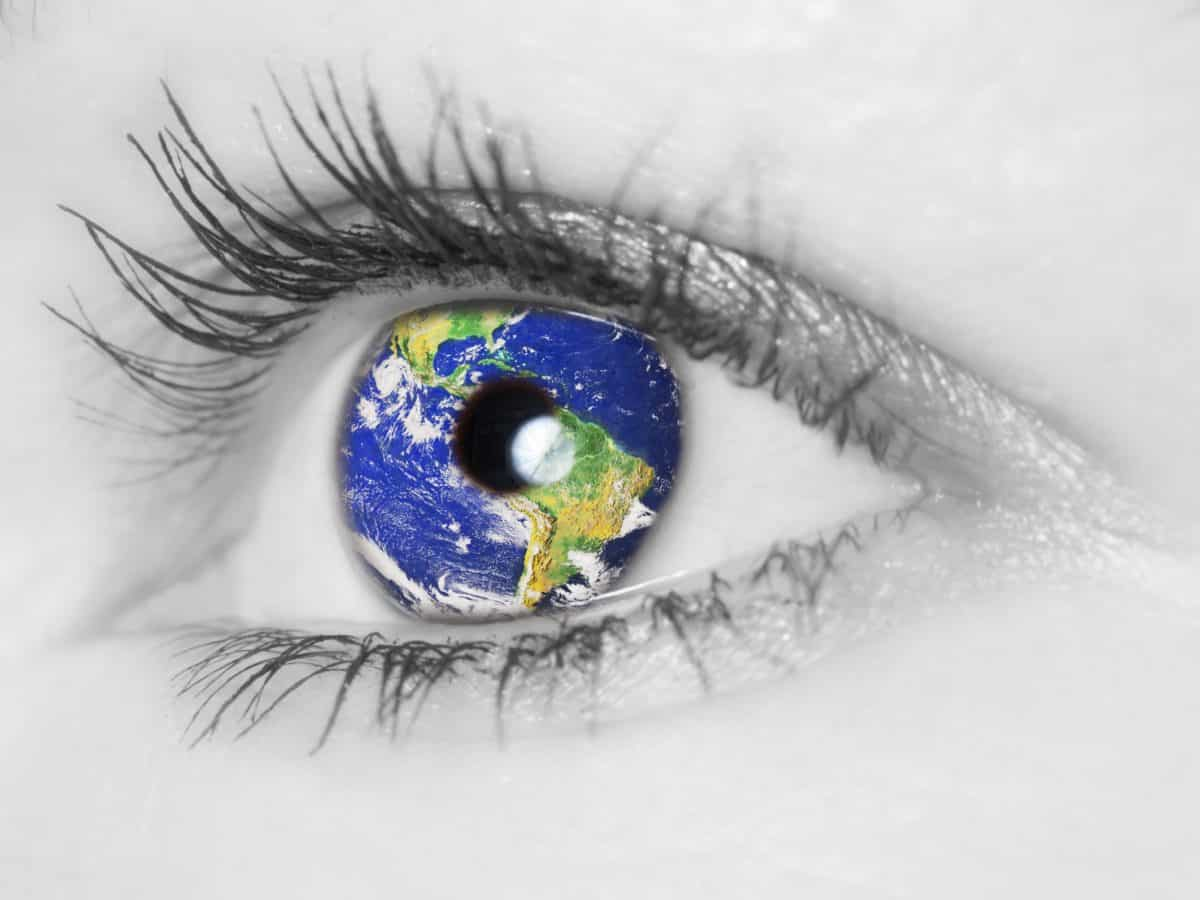 Eye with world Iris