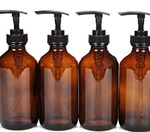 Glass Amber Bottle with Lotion Pump