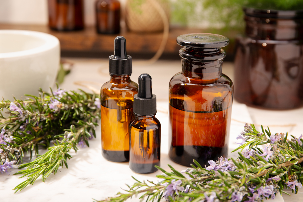 rosemary-essential-oil-on-vintage-apothecary-bottl-8HS5H5Z